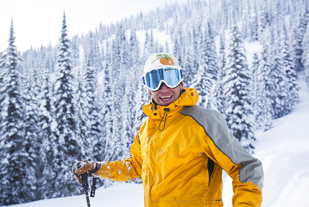 Portrait of male skier, USA, Montana, Whitefish