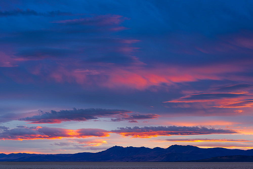 View to Alvord Desert at sunset, USA, Oregon