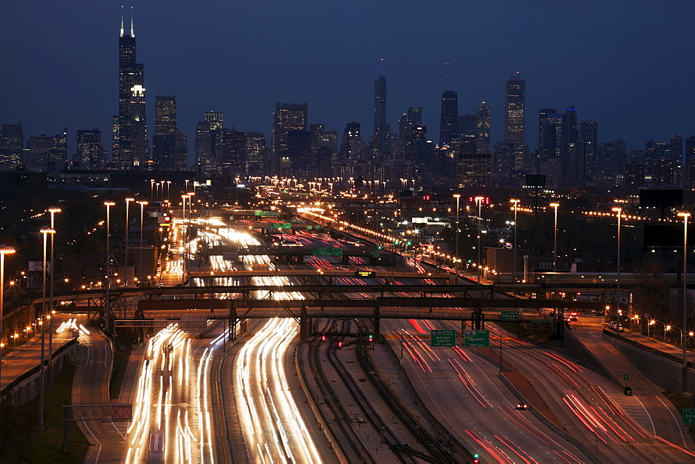 Light trail, Chicago, Illinois