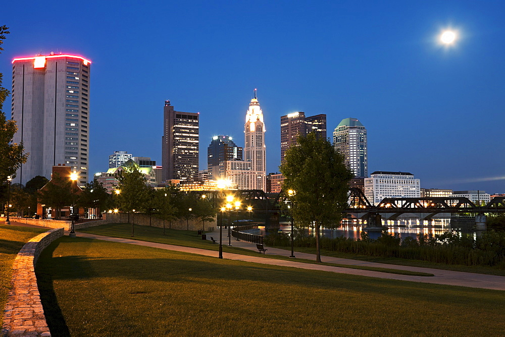 City skyline at dusk, Cleveland, Ohio