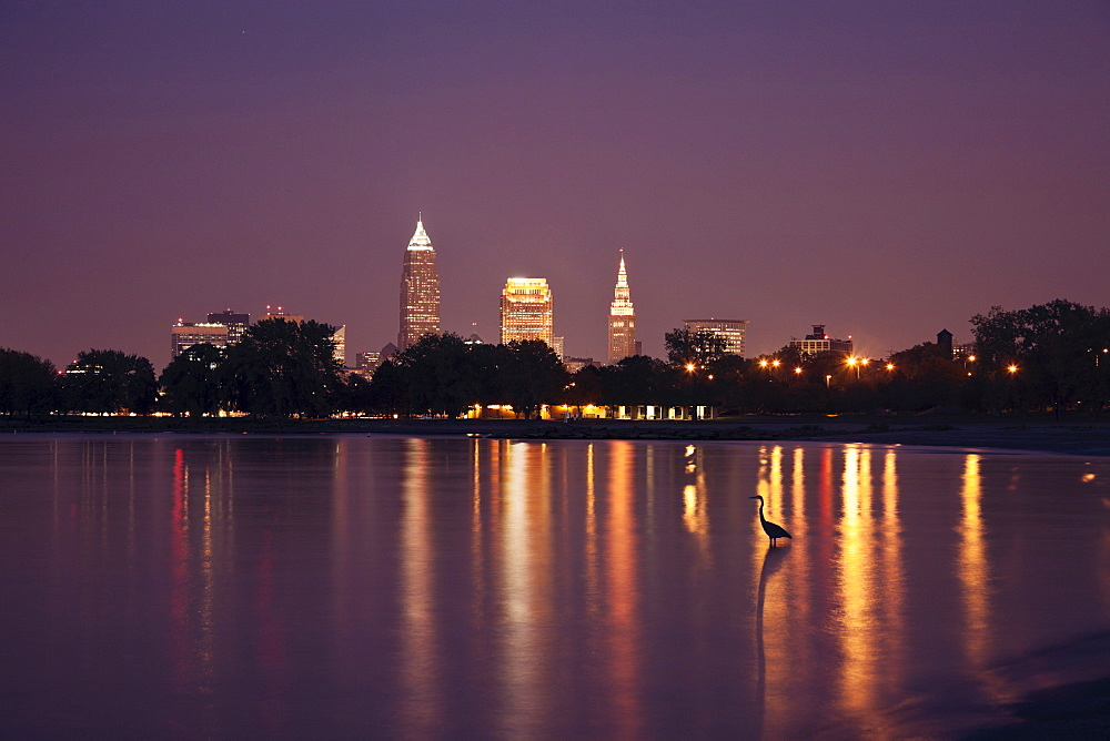 City skyline at night, Cleveland, Ohio