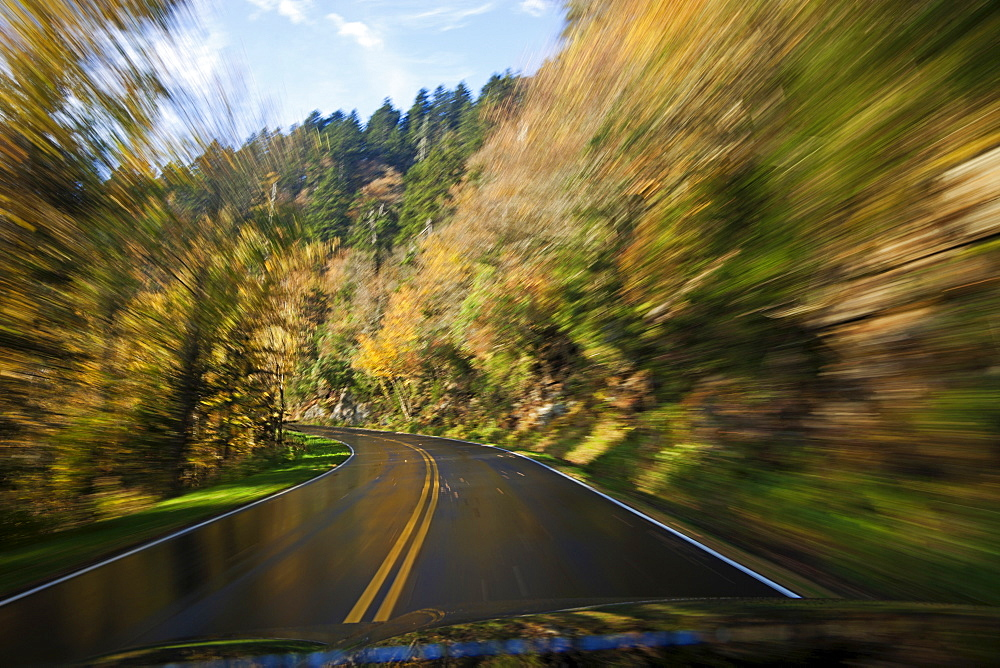 Driving on the wet road in Great Smoky Mountains National Park