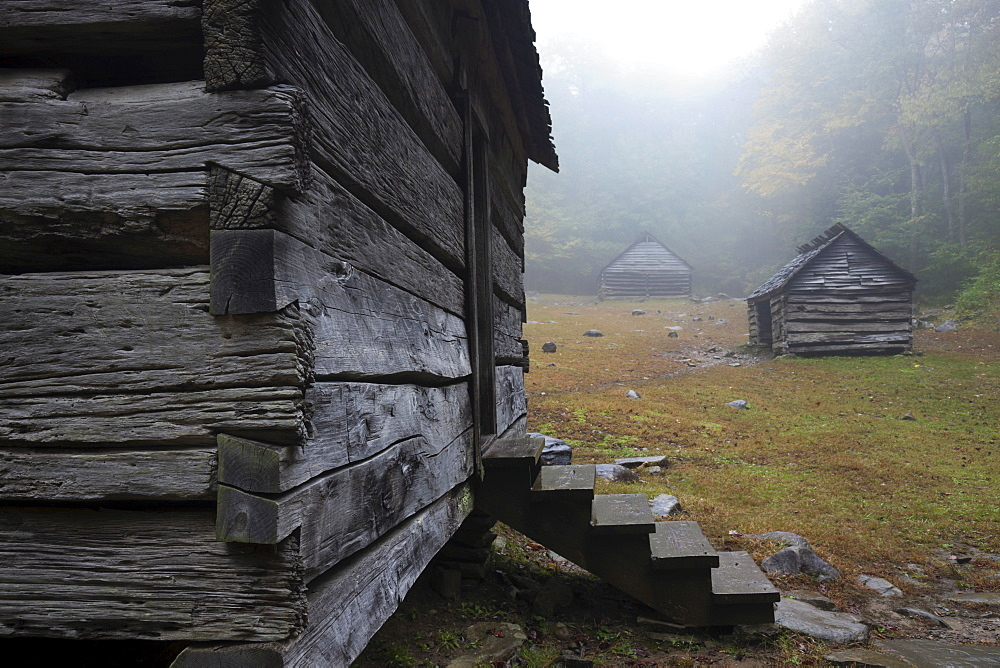 Huts on meadow, Smokey National Park, North Carolina
