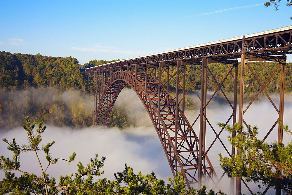Bridge in fog, Babcock State Park, West Virginia