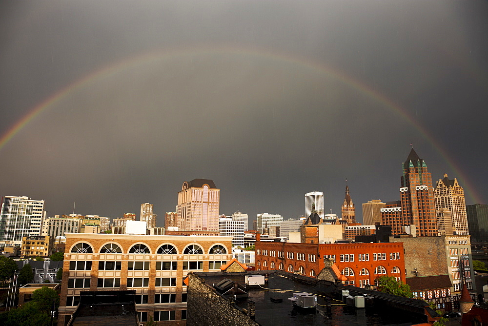 Rainbow over downtown Milwaukee, USA, Wisconsin, Milwaukee