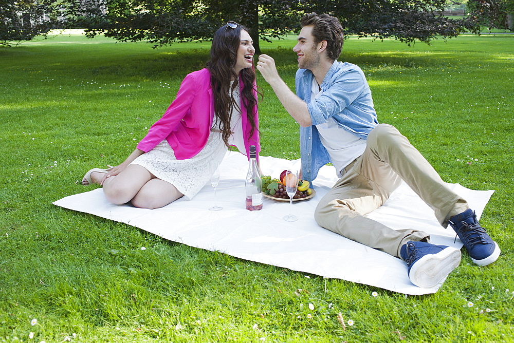 Couple having picnic in park, Netherlands, Oisterwijk