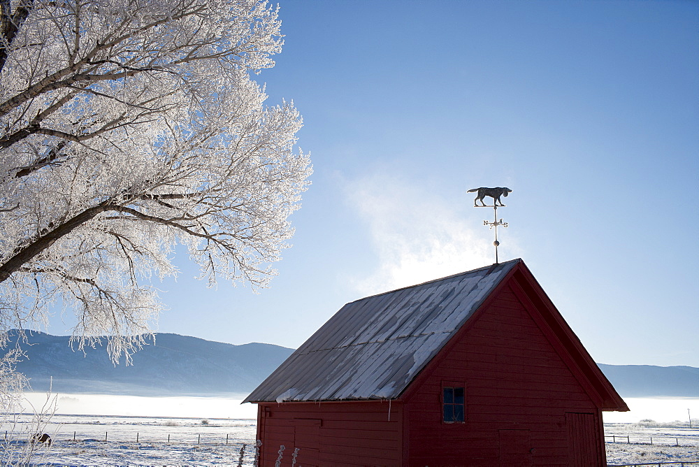 Old barn in winter scenery