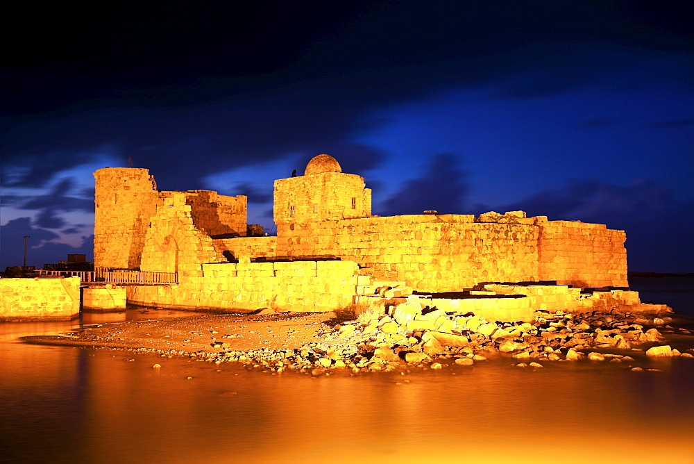 Sidon Sea Castle at dusk