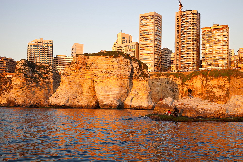 Pigeon Rock and Beirut architecture at sunset