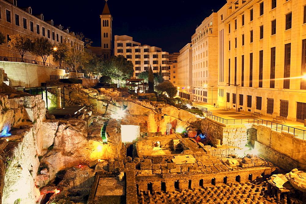 Roman ruins at night