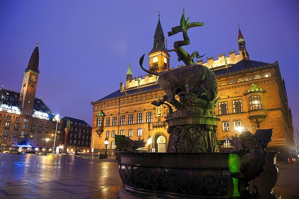 Copenhagen City Hall at dusk