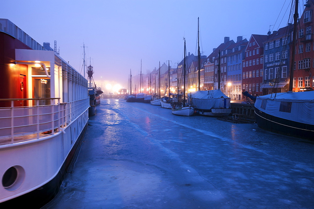 Nyhavn district on early winter morning