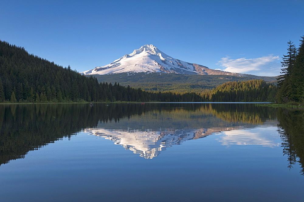 Mount Hood reflecting in Trillium Lake