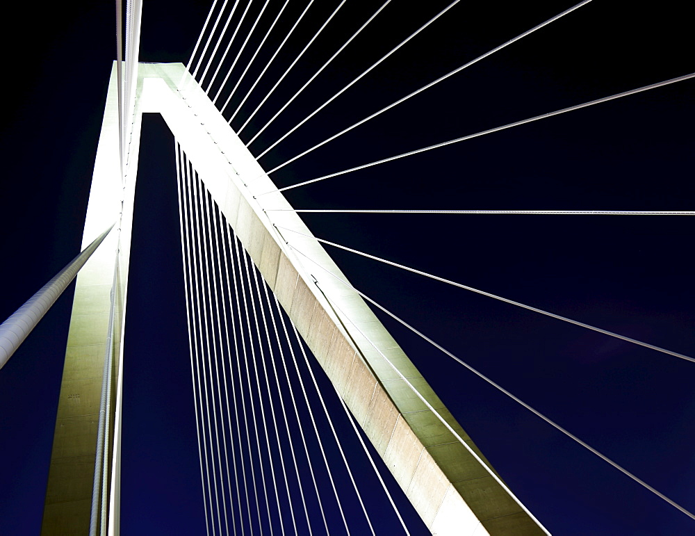 USA, South Carolina, Charleston, Detail of Arthur Ravenel Jr. Bridge