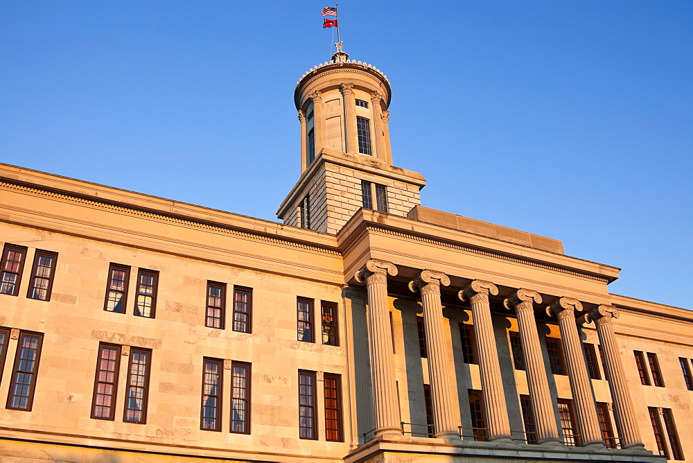 USA, Tennessee, Nashville, State Capitol Building against blue sky
