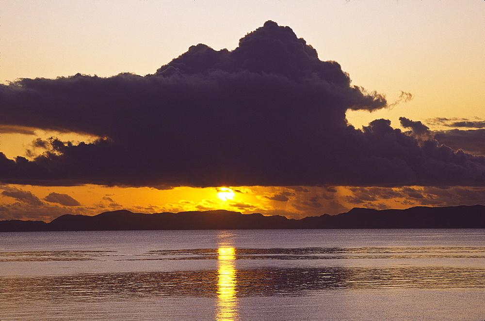 Mexico, Baja California Sur, Loreto, Sunset sky