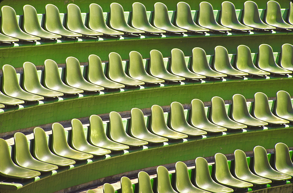 Mexico, Guerrero, Ixtapa, Rows of green seats