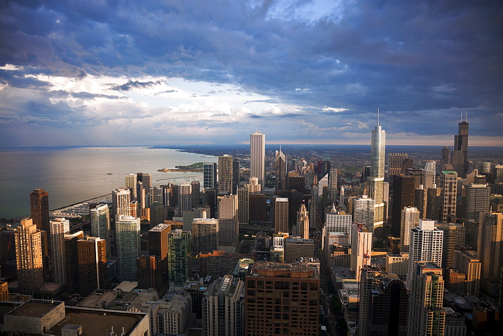 USA, Illinois, Chicago, City before storm, view from Hancock Tower