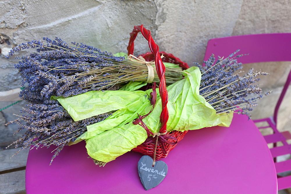 Lavender in bundles on table