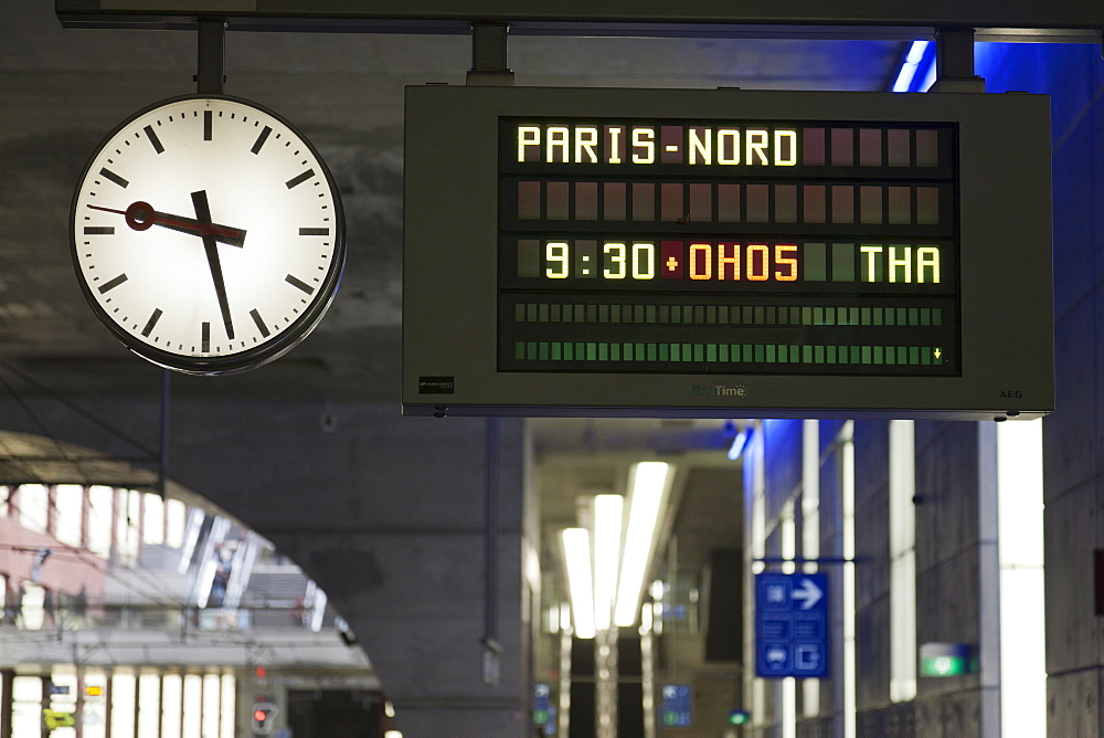 Belgium, Antwerpen, Arrival-departure board in train station
