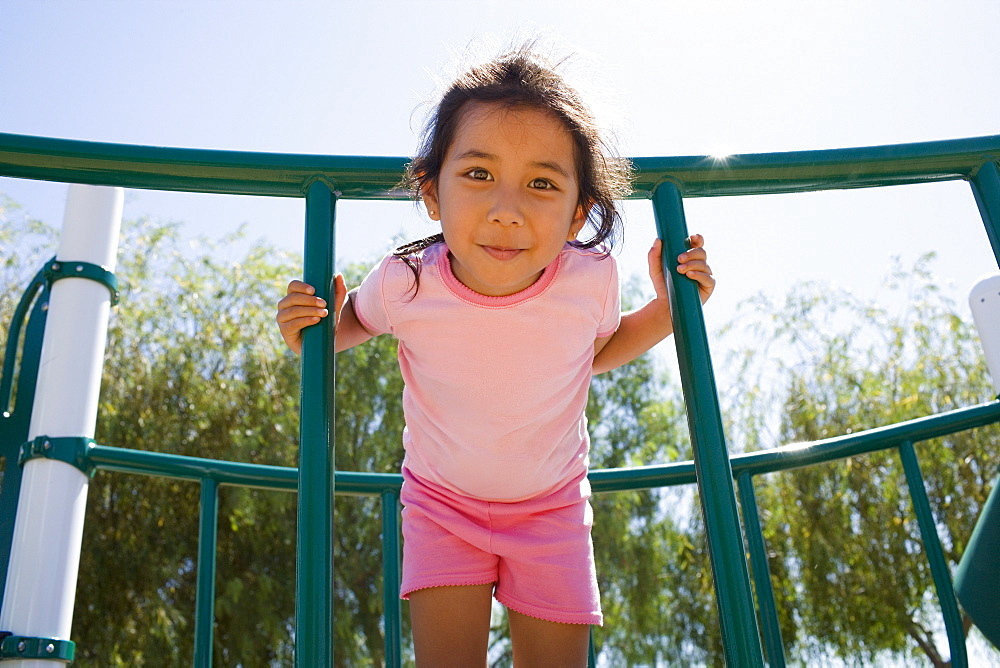 USA, California, Portrait of girl (4-5) at playground