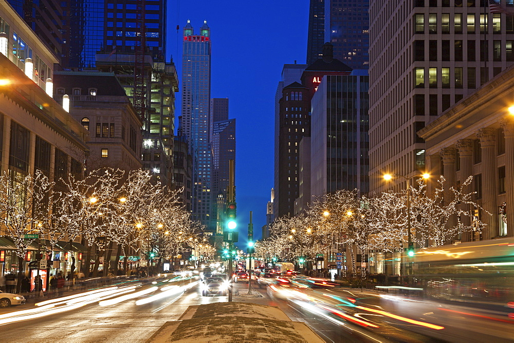 USA, Illinois, Chicago, Michigan Avenue illuminated at night