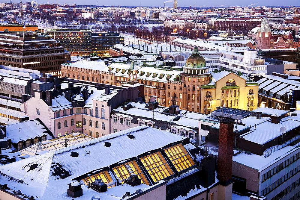 Finland, Helsinki, Winter cityscape