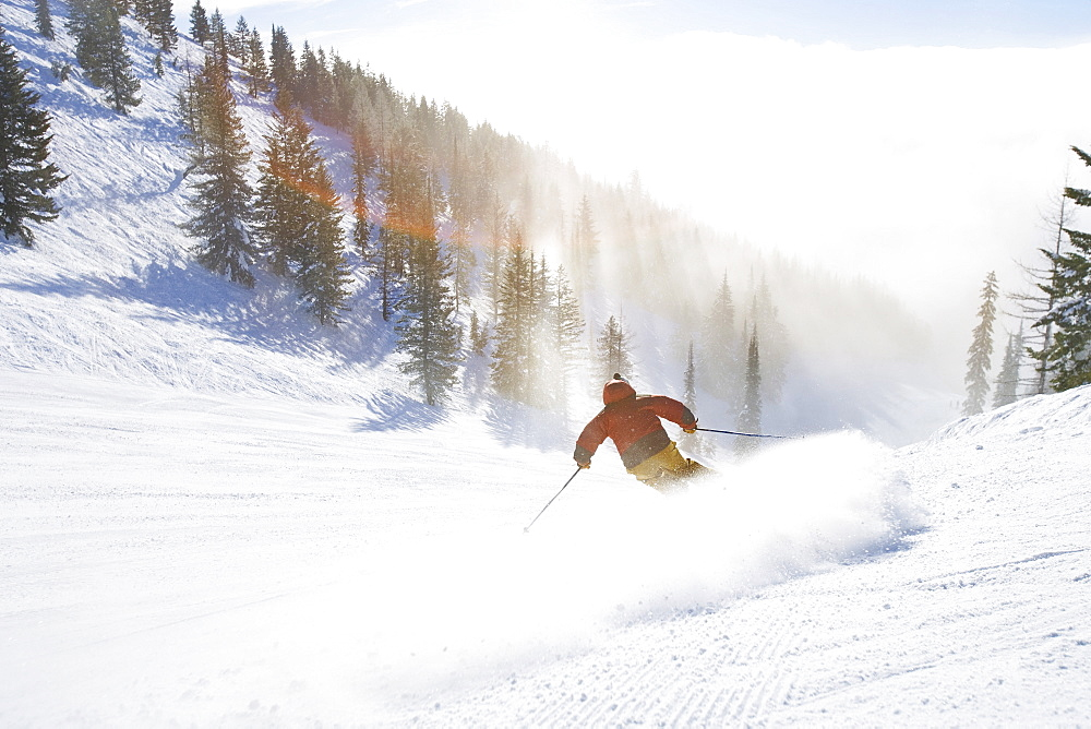 USA, Montana, Whitefish, Male skier on mountain slope