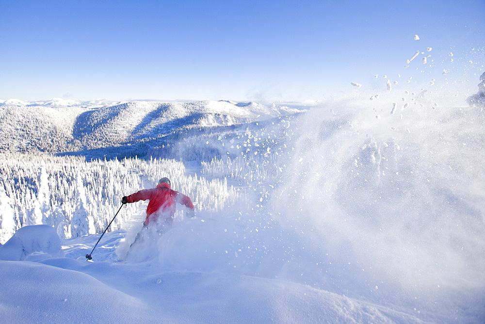 USA, Montana, Whitefish, skier on slope
