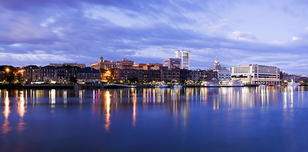 USA, Georgia, Savannah, City skyline by river