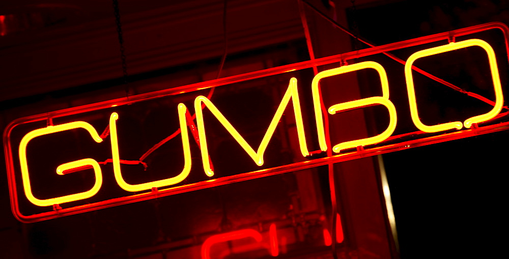 Illuminated Gumbo sign on Beale Street in Memphis
