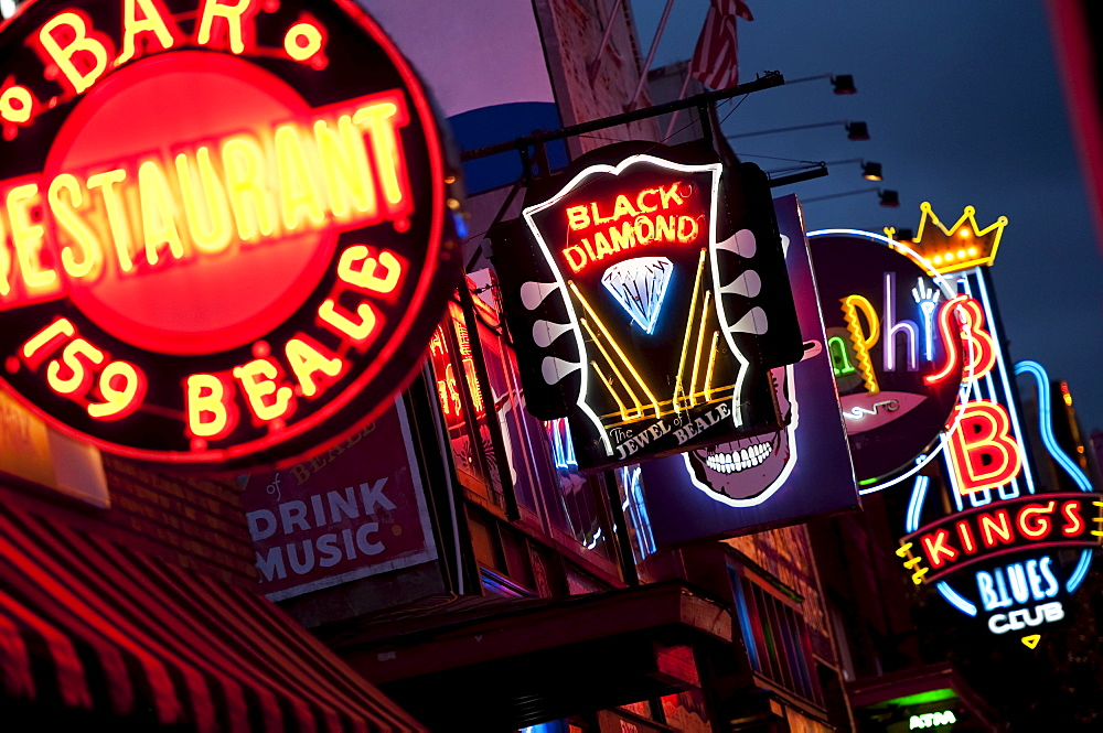 Illuminated bar signs on Beale Street in Memphis