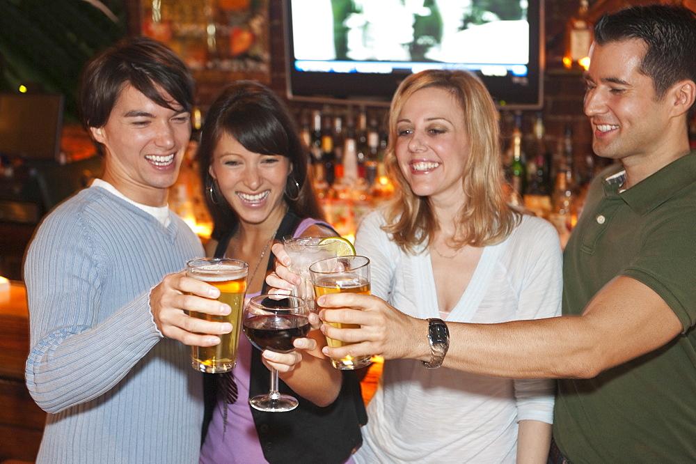 Friends toasting at bar