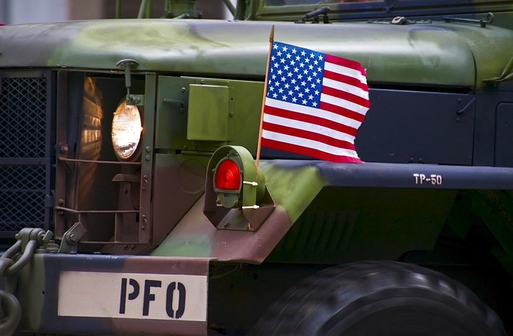 American flag on jeep
