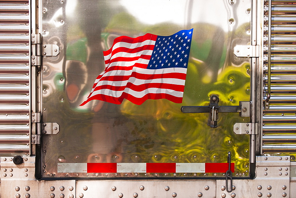 Side of truck with American flag