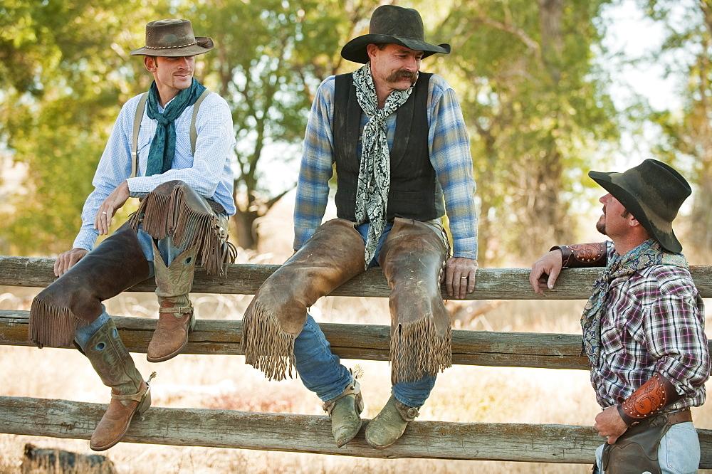 Cowboys sitting on fence
