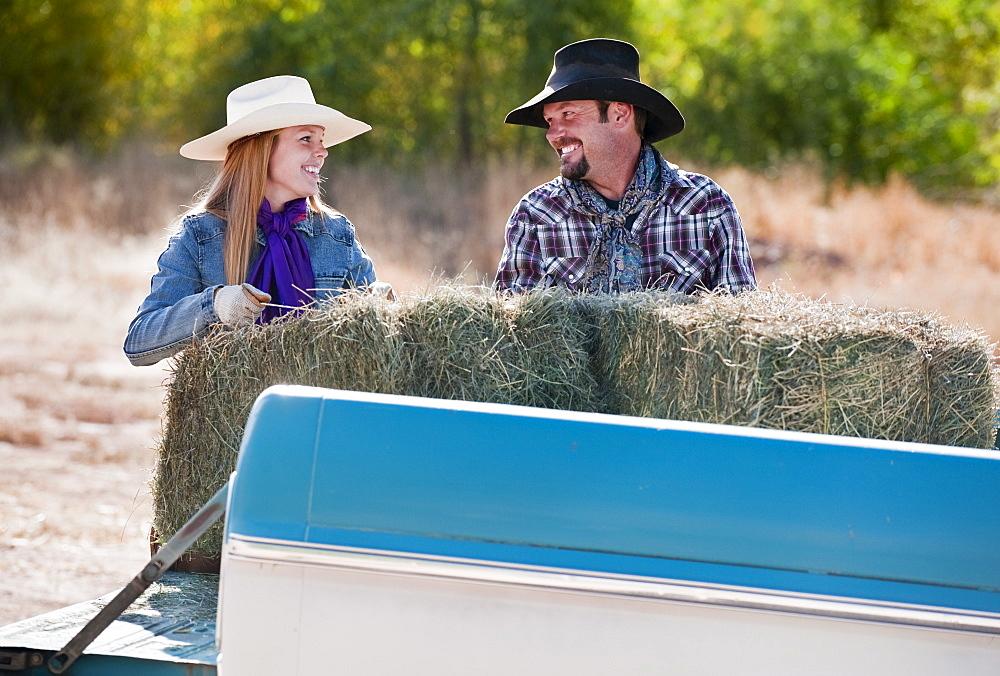 Lifting bales of hay