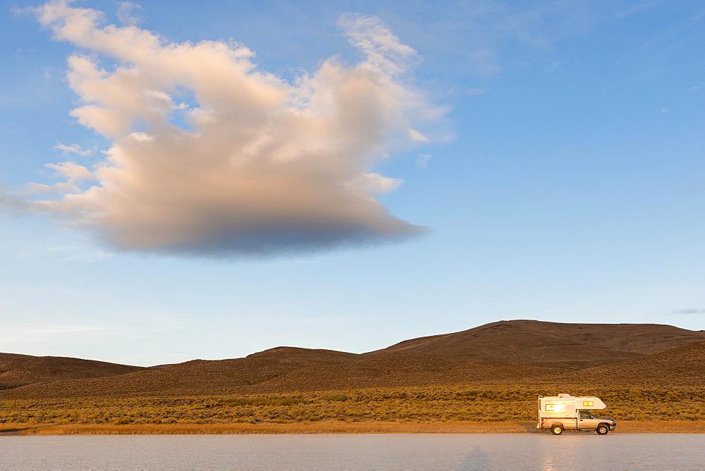 Camper van on road, USA, Oregon