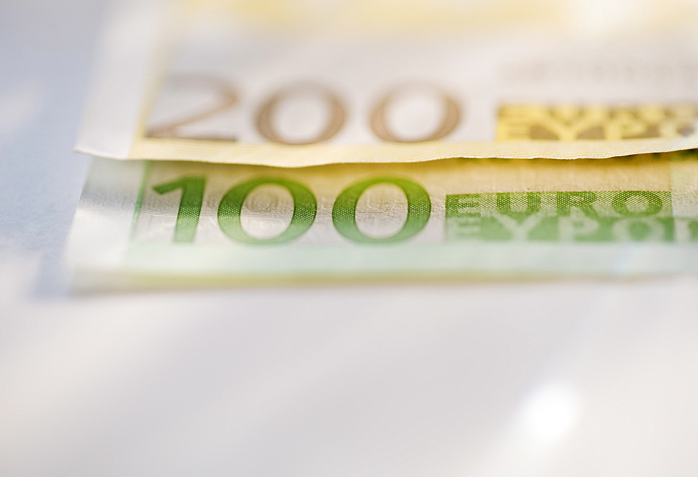 Close up of paper euros
