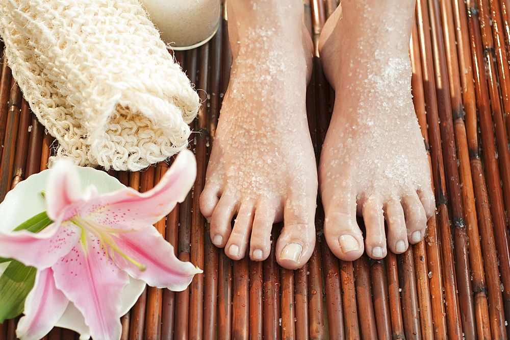 Close-up of woman's feet having spa treatment