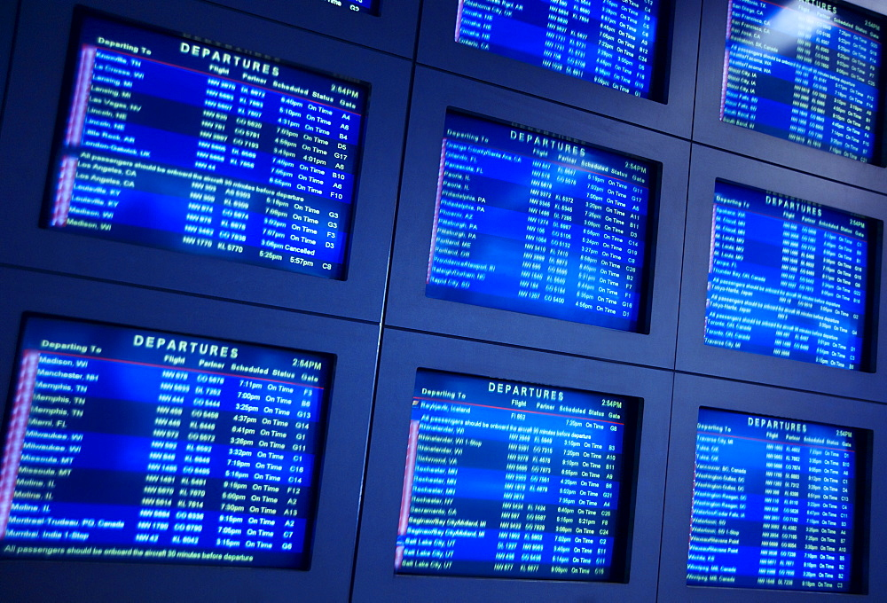 Airport arrival and departure information monitors