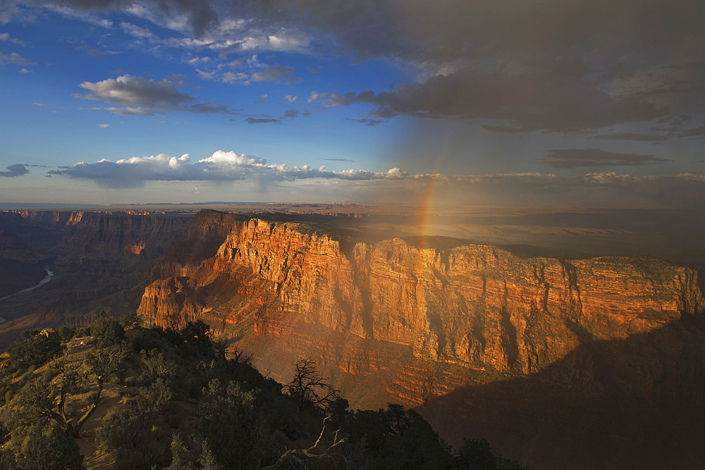 Rainbow and clouds over Grand Canyon, Arizona