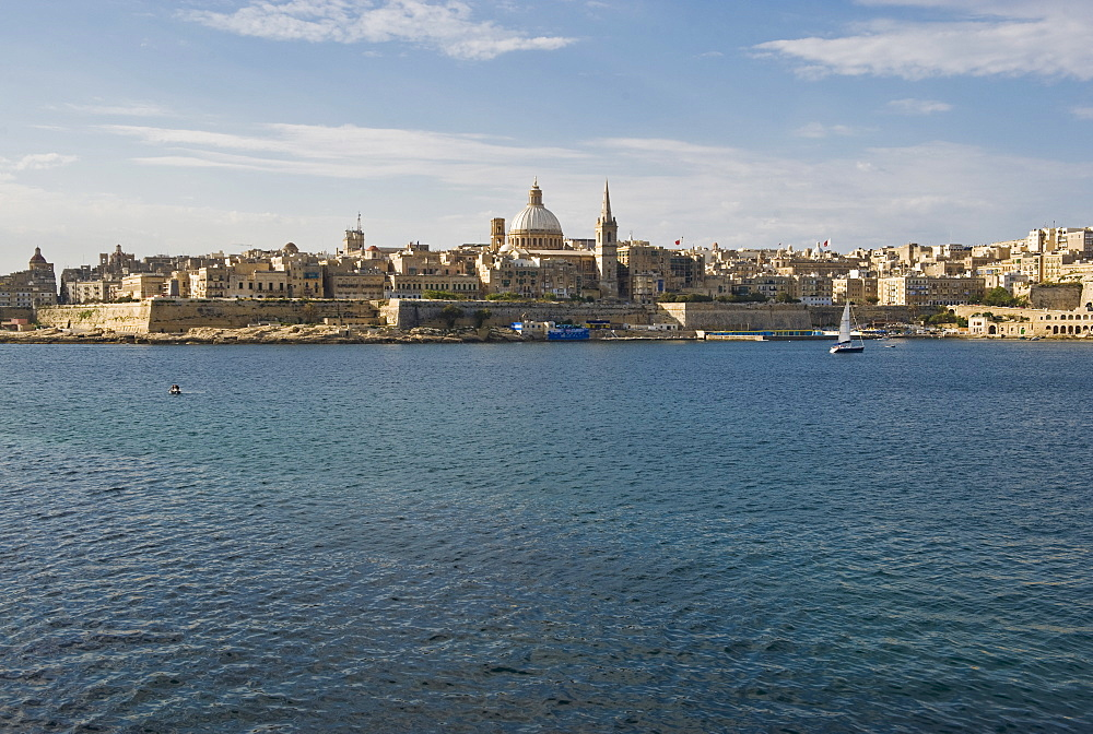 Senglea Point in distance, Valleta, Malta