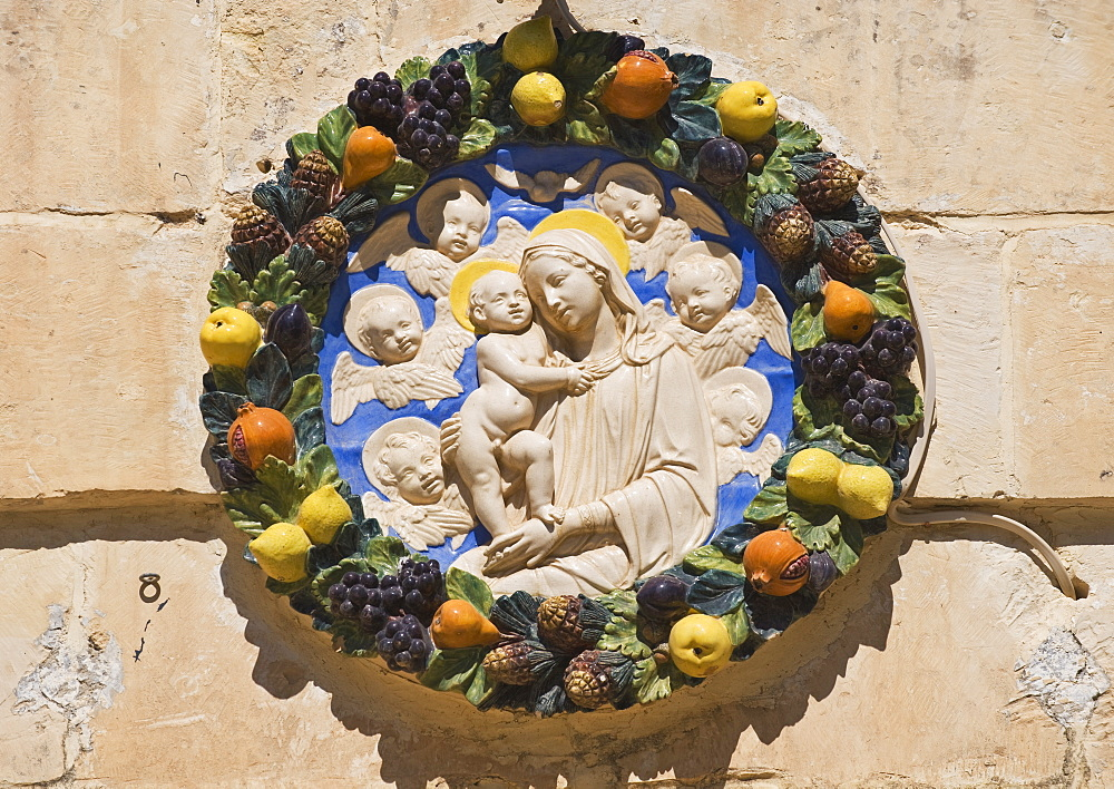 Madonna and child house plaque, Mdina, Malta