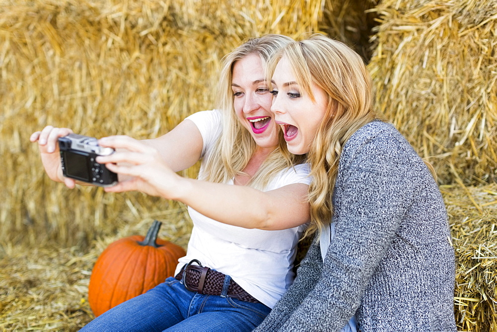 Two friends taking selfie in field