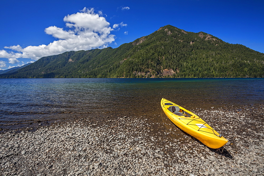Yellow kayak on Lake Crescent, Olympic National Park, Washington