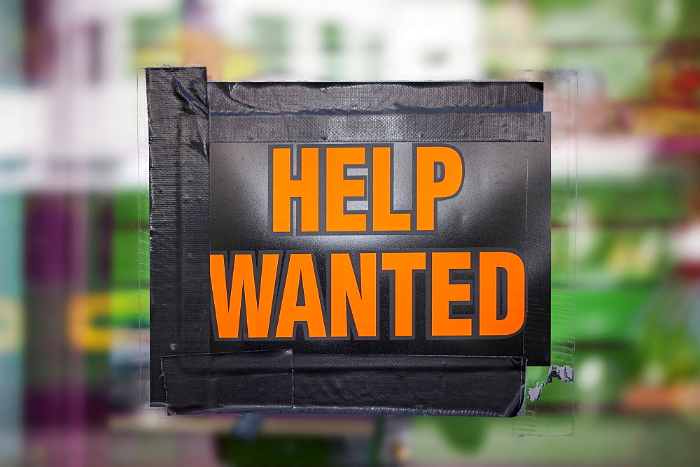Help wanted sign on window