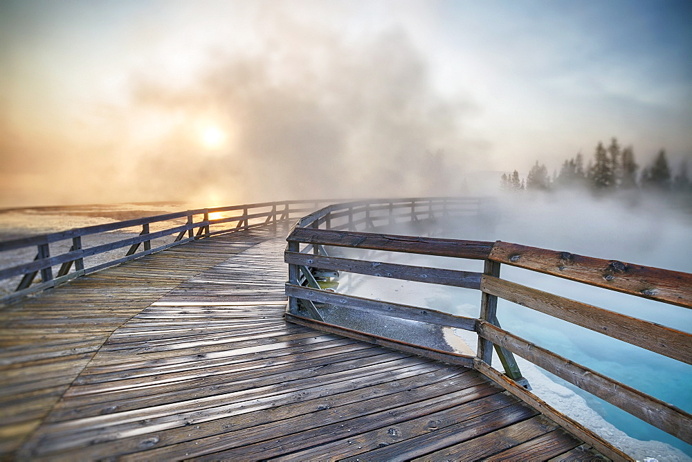 West Thumb Geyser Basin at sunrise, West Thumb Geyser Basin, Yellowstone National Park, Wyoming