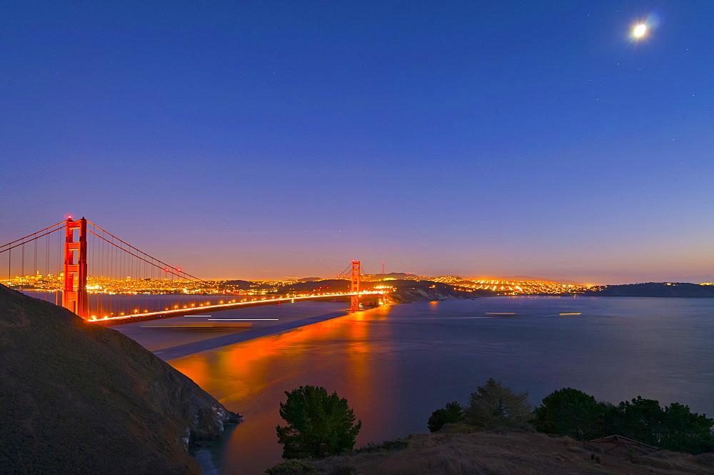 Night view of bridge, San francisco, California