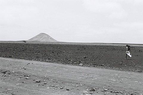 Cape Verde Island, Sal, Woman walking in desert, Capeverdian Islands, Sal
